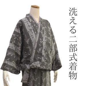 洗える着物 二部式 袷 仕立て上がりグレー地ドットよろけ縞に枝葉柄 フリーサイズ 着物 ユニフォーム 帯なし 冬 袷 楽々 便利 kimono-kyoukomati