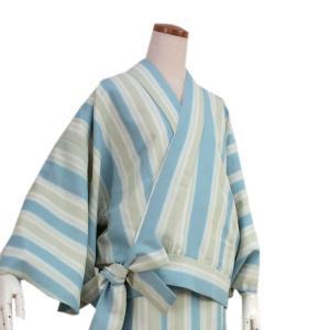 洗える着物 二部式 袷 仕立て上がり薄グリーン系ぼかし縞柄 フリーサイズ 着物 ユニフォーム 帯なし 冬 袷 楽々 便利 kimono-kyoukomati
