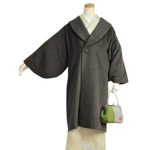 【着物コート ブラウン】アルパカ ウール ロング丈 ロールカラー フリーサイズ 和装 レディース 4女性 防寒 あったか 日本製 送料無料 セール対象外|kimono-kyoukomati