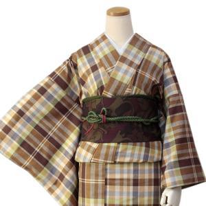 正絹着物 仕立上り 単品 ブラウン系格子柄 フリーサイズ 紬 袷 女性 レディース小紋 こもん きもの つむぎ キモノ kimono 送料無料 kimono-kyoukomati