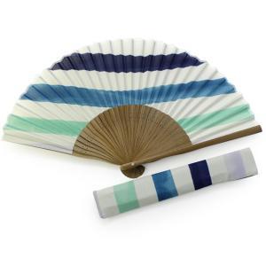 扇子 女性 セット 白地ブルー系縞 ギフト プレゼント 贈り物 扇子袋 レディース 母の日 セール対象外 送料無料対象外|kimono-kyoukomati