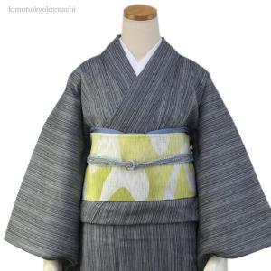 レディース 洗える夏着物単品 フリーサイズ 綿麻素材の琵琶上布 グレー地縞柄 仕立て上り 女性 洗濯OK 単衣仕立 送料無料|kimono-kyoukomati