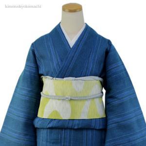 レディース 洗える夏着物単品 フリーサイズ 綿麻素材の琵琶上布 青緑地縞柄 仕立て上り 女性 洗濯OK 単衣仕立 送料無料|kimono-kyoukomati