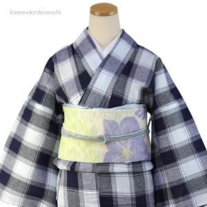 レディース 洗える夏着物単品 フリーサイズ 綿麻素材の琵琶上布 紺・水色地格子柄 仕立て上り 女性 洗濯OK 単衣仕立 送料無料|kimono-kyoukomati