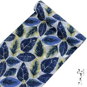 洗える着物 反物 小紋 単衣 袷 仕立て付き XS S M L XL サイズ セミオーダー みすゞうた レディース 女性 送料無料 グレー ブルー ボタニカル 植物 セール対象外|kimono-kyoukomati