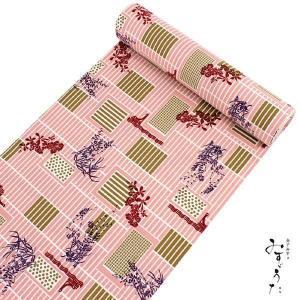 洗える着物 反物 小紋 単衣 袷 仕立て付き XS S M L XL サイズ セミオーダー みすゞうた レディース 女性 送料無料 ピンク 格子 蘭 着物 セール対象外|kimono-kyoukomati