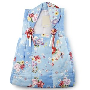 被布コート単品 七五三 三歳 女の子用 晴れ着 簡単着付け 水色地バラと桜 被布飾り房リボン付き 祝い着 3歳 3才 女児|kimono-kyoukomati