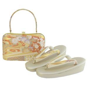 草履 バッグ セット フォーマル用 オレンジ地秋草柄 和装 着物 ぞうり バック 女性 送料無料|kimono-kyoukomati
