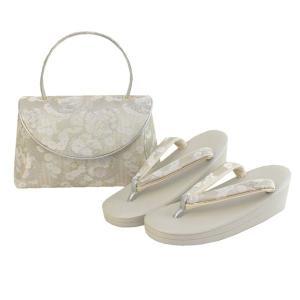草履バッグセット フォーマル用 グレー地雪の輪菊花菖蒲柄 和装 着物 ぞうり バック 女性  送料無料