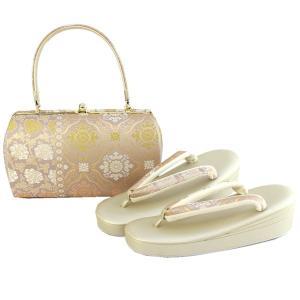 草履バッグセット フォーマル用  フリーサイズ ピンク紫地 菊牡丹唐草柄 和装 着物 ぞうり バック 女性  送料無料