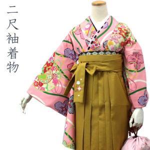 二尺袖着物 袴用着物 ピンク地立涌に鼓柄 フリーサイズ 卒業式 女性 着物 単品 洗える着物 和服 送料無料|kimono-kyoukomati