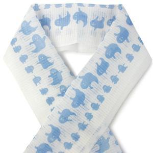 夏の半衿 麻素材でさらりと涼やか 絽 白地 おばけ柄 ブルー 小千谷織物 日本製 DM便発送可能|kimono-kyoukomati