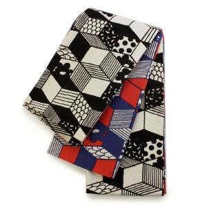 半幅帯 生成り地 幾何学模様柄 レディース リバーシブル 送料無料 女性|kimono-kyoukomati