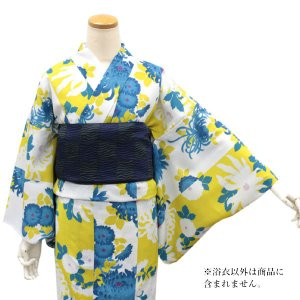 東レセオアルファ 浴衣 レディース 単品 送料無料 Mサイズ 無松庵 Mサイズ 白地菊尽くし 洗える着物 ゆかた 女性 日本製 セール対象外|kimono-kyoukomati