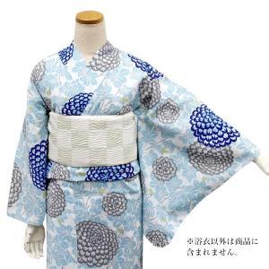 東レセオアルファ 浴衣 レディース 単品 送料無料 Mサイズ 無松庵 Mサイズ 白地葉に菊 洗える着物 ゆかた 女性 日本製 セール対象外|kimono-kyoukomati