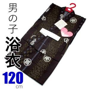 浴衣 子供 男の子 120 単品 こども 7歳 8歳 茶色地変わり縞家紋柄 古典柄 木綿 ゆかた キッズ あすつく kimono-kyoukomati