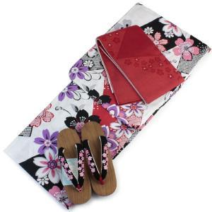 浴衣 帯 下駄 3点セット 浴衣セット レディース フリー サイズ 白地桜尽くし柄 赤色半幅帯 リバーシブル 半幅帯 あすつく kimono-kyoukomati