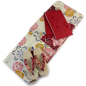 浴衣 帯 下駄 3点セット 浴衣セット レディース L サイズ ベージュ地赤牡丹麻の葉柄 赤色半幅帯 リバーシブル 半幅帯 あすつく kimono-kyoukomati