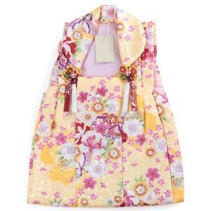 被布 単品 七五三 被布 コート 単品 3歳 女の子 被布飾り付 洗える 三歳 着物 和装 黄 蝶々 牡丹 桜 毬 可愛い 軽い 被布コート 未使用 tkクオ|kimono-kyoukomati