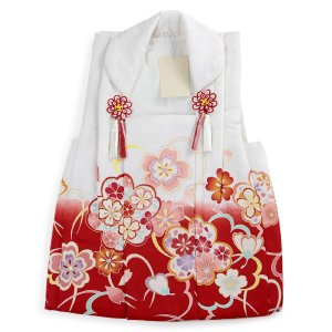 被布 単品 七五三 被布 コート 単品 3歳 女の子 被布飾り付 洗える 三歳 着物 和装 白 赤 桜 可愛い レトロ 古典 軽い 被布コート 未使用 tkクオ|kimono-kyoukomati