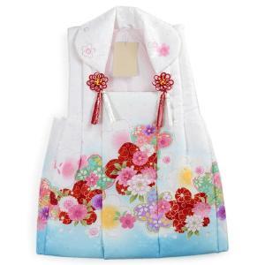 被布 単品 七五三 被布 コート 単品 3歳 女の子 被布飾り付 洗える 三歳 着物 和装 白 青 桜 菊 可愛い 軽い 被布コート 未使用 tkクオ|kimono-kyoukomati