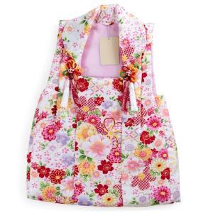 被布 単品 七五三 被布 コート 単品 3歳 女の子 被布飾り付 洗える 三歳 着物 和装 白 桜 菊 七宝 可愛い レトロ 軽い 被布コート 未使用 tkクオ|kimono-kyoukomati