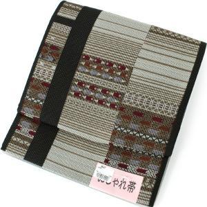 名古屋帯 作り帯 お太鼓 洗える 仕立て上がり 軽装帯 着用可能 一重太鼓 ベージュ地横段に矢羽根柄 レディース 女性 新品 着物 付け帯 文化帯|kimono-kyoukomati