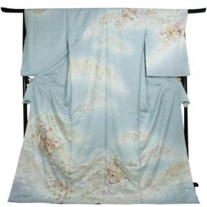 訪問着 正絹 未仕立て 水色 梅 桜 貝桶 単品 クリーニング 足袋 プレゼント 新品 販売 購入 入学式 卒業式 謝恩会 結婚式 送料無料|kimono-kyoukomati