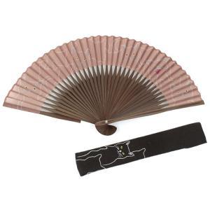 ギフト 扇子 扇袋セット レディース 綿 麻 竹 うたいねこ 茶色 白 グレー 猫柄 紙箱入り カジュアルデザイン 婦人 かわいい|kimono-kyoukomati