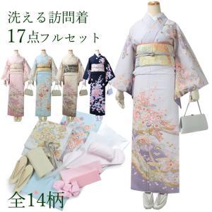訪問着 セット 購入 フルセット フリーサイズ 袋帯 帯揚げ 帯締め 着付け小物 草履バッグ 洗える着物 福袋 レディース 女性 卒業式 入学式 結婚式 送料無料|kimono-kyoukomati