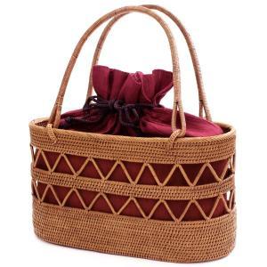 a05eb66ee7ebe0 アタバッグ かごバッグ 赤 巾着付き 楕円型 アタ 雑貨 籠 アタバック レディース 女性