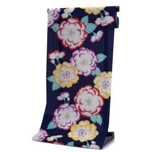 浴衣 反物 仕立て付き 濃紺 椿 カラフル 山本彩 女性 レディース フルオーダー 綿 和装 和服 日本製 送料無料 kimono-kyoukomati