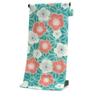 浴衣 反物 仕立て付き 緑 梅 麻の葉 山本彩 女性 レディース フルオーダー 綿 和装 和服 日本製 送料無料 kimono-kyoukomati