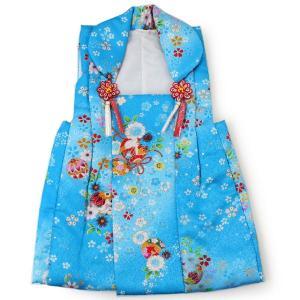 被布 単品 七五三 被布 コート 単品 3歳 女の子 被布飾り付 洗える 三歳 着物 和装 青地 手毬 うさぎ 可愛い レトロ 軽い ふんわり 被布コート|kimono-kyoukomati