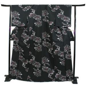 洗える着物 袷 小紋 フリーサイズ 仕立て上がり 単品 黒 菊 ハナエモリ 女性 レディース 和装 和服 きもの カジュアル 普段着 送料無料 あすつく|kimono-kyoukomati