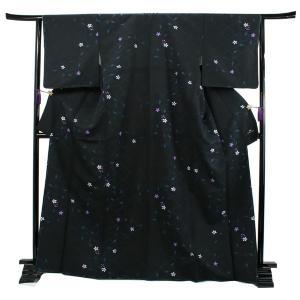 洗える着物 袷 小紋 フリーサイズ 仕立て上がり 単品 黒 変わり格子 花 ハナエモリ 女性 レディース 和装 和服 きもの カジュアル 普段着 送料無料 あすつく|kimono-kyoukomati