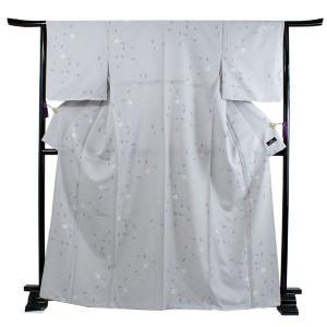 洗える着物 袷 小紋 フリーサイズ 仕立て上がり 単品 薄グレー 変わり格子 花 ハナエモリ 女性 レディース 和装 和服 きもの カジュアル 送料無料 あすつく|kimono-kyoukomati