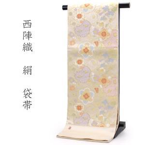 袋帯 単品 絹 六通柄 未使用 仕立て付き 洒落 六通 西陣織 ふくい謹製 白 ゴールド 雪輪 四季の花 女性 レディース 着物 和装 和服|kimono-kyoukomati