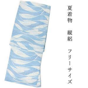 洗える夏着物 単品 レディース 縦絽 金子みすゞ 薄ブルー地 白色 葉っぱ フリー サイズ 仕立上り 丸洗い 洗濯可能 和装 和服 夏きもの あすつく kimono-kyoukomati