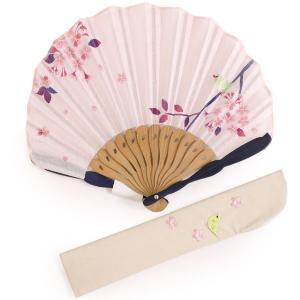 扇子 扇子袋 2点セット レディース ピンク 鳥 桜 箱入り エコ ギフト プレゼント 春 夏 母の日 婦人 女性 女 京扇子 せんす 送料無料|kimono-kyoukomati