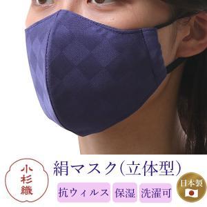 絹 マスク 不織布 カラー パープル濃紺 日本製 洗える 市松格子 超立体型 抗ウィルスフィルター 抗菌 シルク 小杉織物  4層 敏感肌 女性 男性 大人 ギフト|kimono-kyoukomati