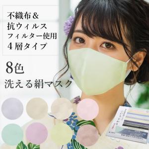 マスク 日本製 不織布 洗える 絹 カラー 10色 市松格子 超立体型 抗ウィルスフィルター 抗菌 シルク 小杉織物 4層 敏感肌 女性 大人 ギフト 母の日|kimono-kyoukomati