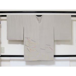 【道行コート】単衣仕立て/小紋箔 色紙散し刺繍 松葉/灰白☆150cm前後ベスト【美品】 kimono-maruichi