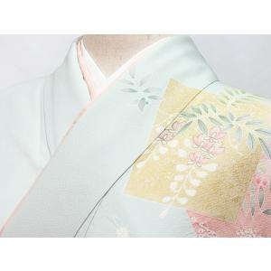 【訪問着】袷 綸子 重ね衿付き/刺繍 疋田絞り入り色紙散しに四季花文/158cm前後ベスト★ブルーイッシュペールグリーン【優品 美品】お薦めです|kimono-maruichi