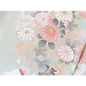 【訪問着】袷 綸子 重ね衿付き/刺繍 疋田絞り入り色紙散しに四季花文/158cm前後ベスト★ブルーイッシュペールグリーン【優品 美品】お薦めです|kimono-maruichi|16
