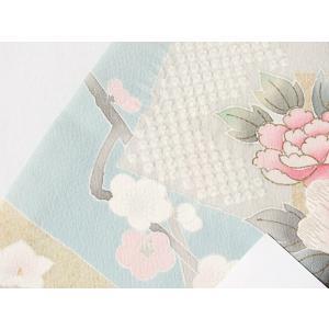 【訪問着】袷 綸子 重ね衿付き/刺繍 疋田絞り入り色紙散しに四季花文/158cm前後ベスト★ブルーイッシュペールグリーン【優品 美品】お薦めです|kimono-maruichi|18