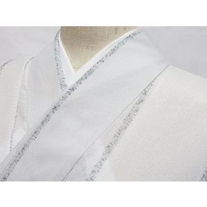 洗えるキモノ【絽 小紋】夏着物 縞/ペールグレー☆162cm前後ベスト【美品】お薦めです|kimono-maruichi