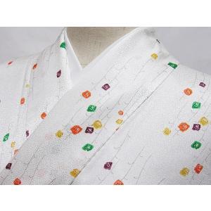 【単衣 小紋】上等化繊 着物 可愛らしい小花/ホワイト☆160cm前後ベスト【美品】|kimono-maruichi