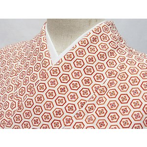 【小紋】袷着物 綸子 花菱に亀甲尽くし 白地☆155cm前後ベスト【超美品】お薦めです|kimono-maruichi