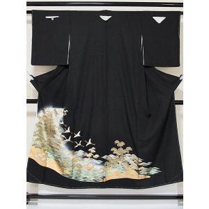 黒留袖 未使用 正絹一越 比翼(化繊) 金彩加工 松に鶴 波 太鼓橋 148cm前後ベストサイズ 美品|kimono-maruichi